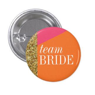 Team Bride button, Pin, gold glitter, bachelorette Button