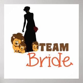 Team bride - cartoon lions poster