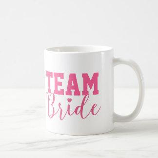 Team Bride Classy Pink Script Bridesmaid Coffee Mug