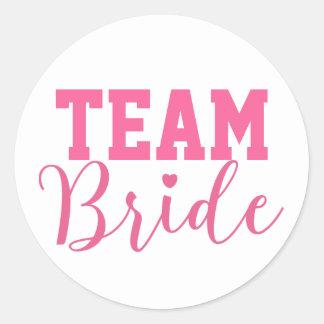 Team Bride Classy Pink Script Classic Round Sticker