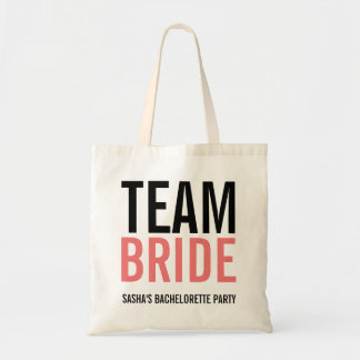 Team Bride Coral Bachelorette Party Tote Bag