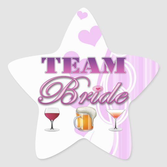 Team Bride Drinks Bridesmaids Wedding Bridal Party Star Sticker