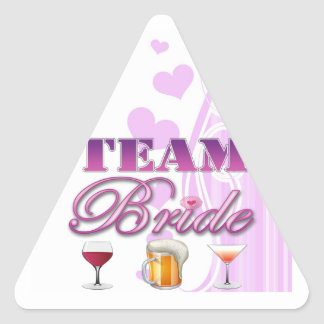 Team Bride Drinks Bridesmaids Wedding Bridal Party Triangle Sticker