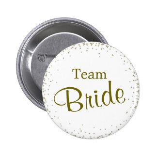 Team Bride Gold Confetti Pinback Button