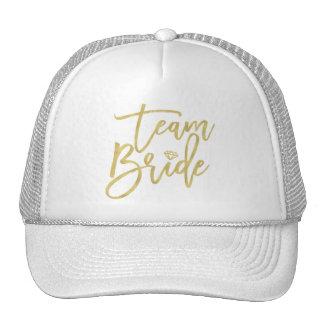 Team Bride Gold Diamond Bridal Party Wedding Cap Trucker Hat