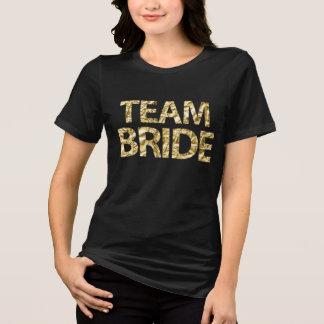 Team Bride Gold Foil Black Womens Plus Size T-Shirt