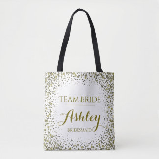 Team Bride Gold Glitter Confetti Dots Tote Bag
