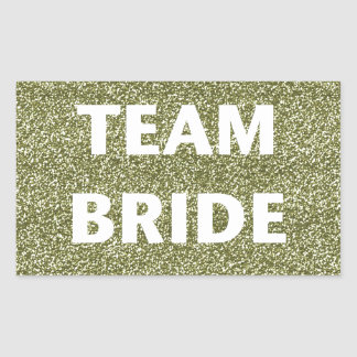 Team Bride (gold glitter) Rectangular Sticker
