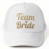 Team Bride Gold Glitter White Mesh Trucker Hat Cap