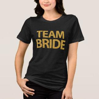 Team Bride Gold Sequins Black Womens Plus Size T-Shirt