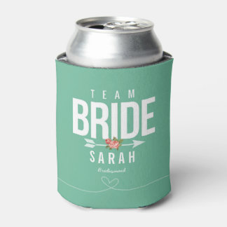 Team Bride Green Bridesmaid Gift Can Cooler