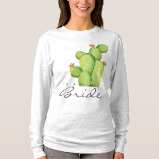 TEAM BRIDE GREEN WATERCOLOUR DESERT CACTUS FLOWER T-Shirt