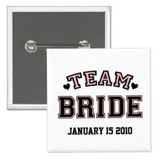 TEAM BRIDE HEARTS PINBACK BUTTON