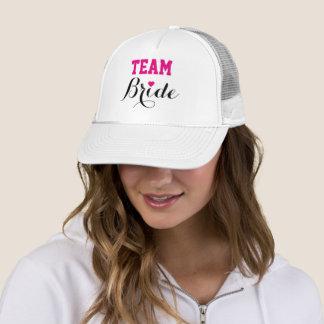 Team Bride Hot Pink Heart Trucker Hat White