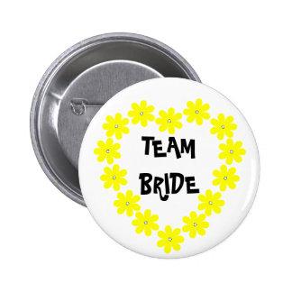 Team Bride in Yellow Pinback Button