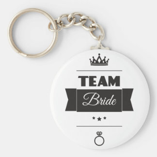 Team Bride Basic Round Button Keychain
