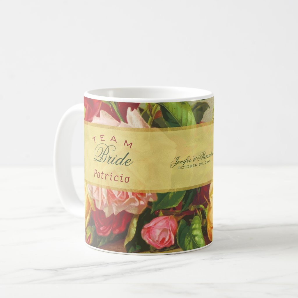Team bride luxury gold chic vintage roses wedding coffee mug