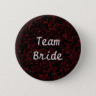 Team Bride Modern Fractal Art Black Red Patterns Pinback Button
