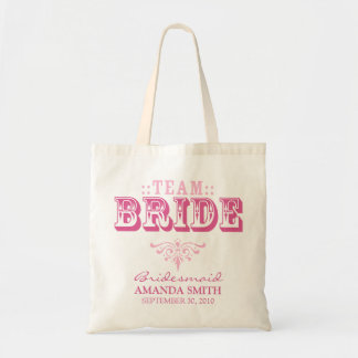 """""""TEAM BRIDE"""" Personalized Wedding Party Tote Bag"""