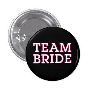 Team Bride Pink Outline Black 1 Inch Round Button