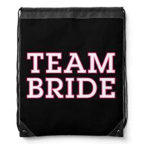Team Bride Pink Outline Black Drawstring Backpack