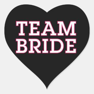 Team Bride Pink Outline Black Heart Sticker