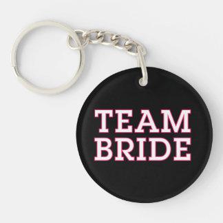 Team Bride Pink Outline Black Acrylic Key Chain