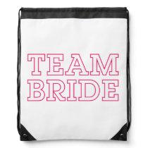 Team Bride Pink Outline Drawstring Bag