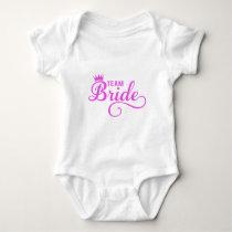 Team bride, pink word art baby bodysuit