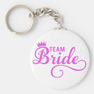 Team bride, pink word art basic round button keychain