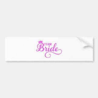 Team bride, pink word art bumper sticker