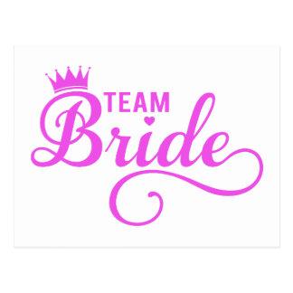 Team bride, pink word art postcard