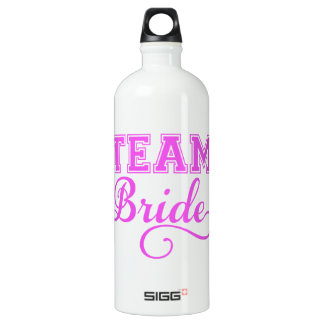Team Bride, pink word art text design for t-shirt Aluminum Water Bottle