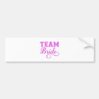 Team Bride, pink word art text design for t-shirt Bumper Sticker