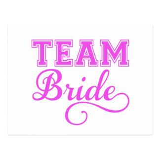 Team Bride, pink word art text design for t-shirt Postcard