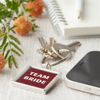 Team Bride (red glitter) Keychains