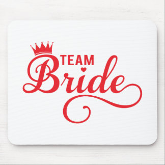 Team Bride, red word art text design for t-shirt Mouse Pad