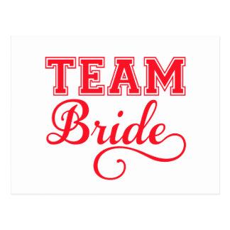 Team Bride, red word art text design for t-shirt Postcard