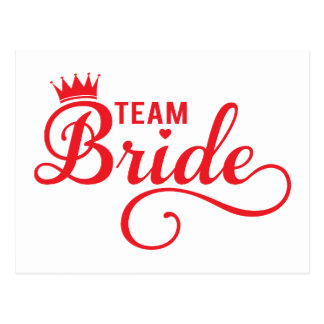 Team Bride, red word art text design for t-shirt Postcard