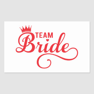 Team Bride red word art text design for t-shirt Rectangle Stickers