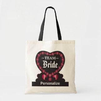Team Bride   Ruby Red  Wedding   DIY Text Tote Bag