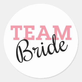 Team Bride Script Classic Round Sticker