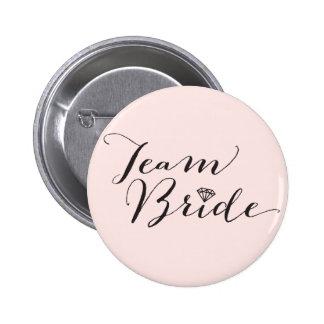 Team Bride Script Diamond Wedding Bridal Party 2 Inch Round Button