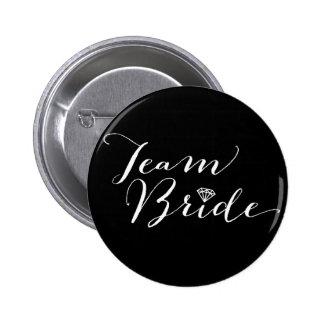 Team Bride Script Diamond Wedding Bridal Party Pinback Button