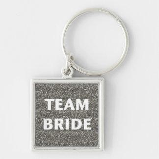 Team Bride Silver Glitter Keychains