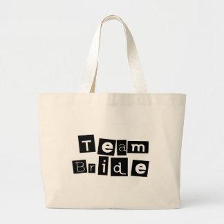 Team Bride (Sq Blk) Large Tote Bag