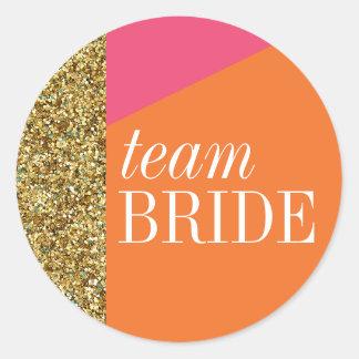 Team Bride Sticker, Gold Glitter, Color Blocks Classic Round Sticker