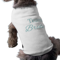 Team bride teal glitter wedding party dog shirt