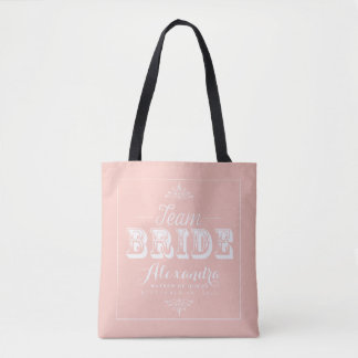 TEAM BRIDE Typography Wedding Party Tote (blush)