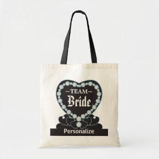Team Bride   Wedding   Aquamarine Blue   DIY Text Tote Bag